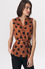 Nife - Urocza karmelowa bluzka bez rękawów - grochy