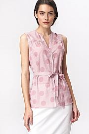 Nife - Urocza różowa bluzka bez rękawów - grochy