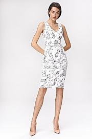 Nife - Jasna sukienka mini w twarze