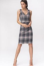 Nife - Szara sukienka mini w kratę