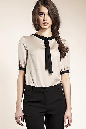 Nife - Subtelna bluzeczka z wstążką - beż