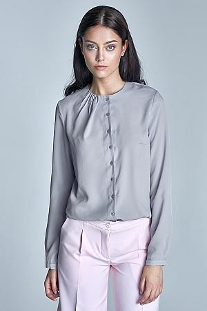 Nife - Zapinana bluzka z pliskami na dekolcie - szary