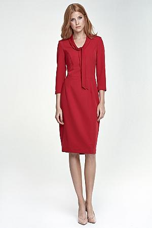 Nife - Sukienka z wiązaniem na dekolcie - czerwony