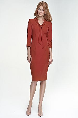 Nife - Sukienka z wiązaniem na dekolcie - rudy