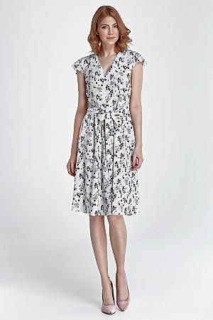 Nife - Delikatna letnia sukienka - kwiaty/ecru