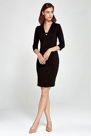 Nife - Dzianinowa sukienka z dekoltem V- czarny