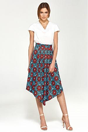 Nife - Asymetryczna spódnica z zakładkami - kwiaty