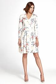 Nife - Sukienka z zakładkami - kwiaty/ecru