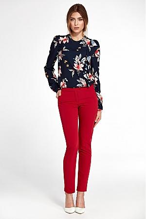 Nife - Klasyczne spodnie z lekko zwężanymi nogawkami - czerwony