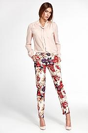 Nife - Klasyczne spodnie z lekko zwężanymi nogawkami - kwiaty