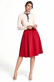 Nife - Rozkloszowana spódnica do kolan - czerwony
