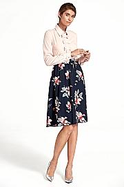 Nife - Rozkloszowana spódnica do kolan - kwiaty/granat