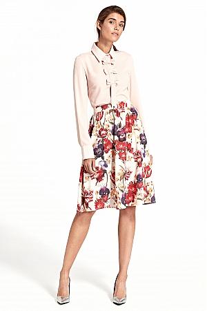 Nife - Rozkloszowana spódnica do kolan - kwiaty