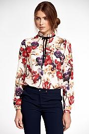 Nife - Bluzka ze stójką i tasiemką na szyi - kwiaty