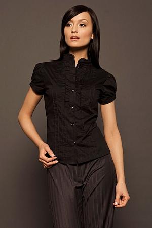 Nife - Urocza koszula z falbanką i zakładkami czarny