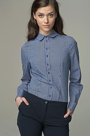 Nife - Klasyczna taliowana koszula - granat/kratka