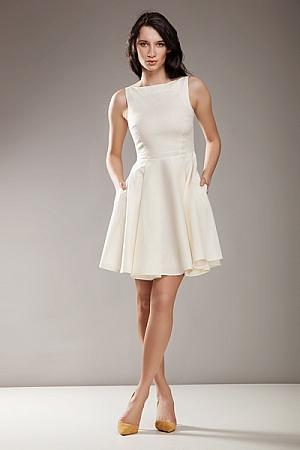 Nife - Stylowa sukienka AUDREY - krem