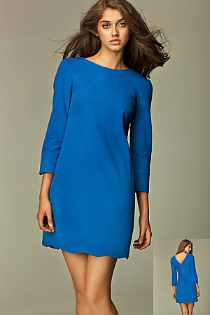 Nife - Intrygująca sukienka z zamkiem na plecach - niebieski