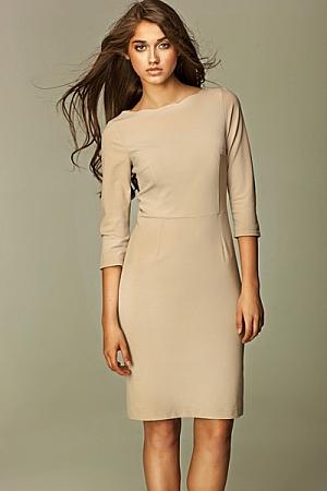 Nife - Sukienka z falowanym brzegiem - beż