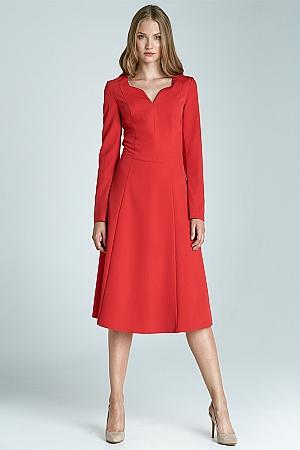 Nife - Klasyczna sukienka z długim rękawem - czerwony
