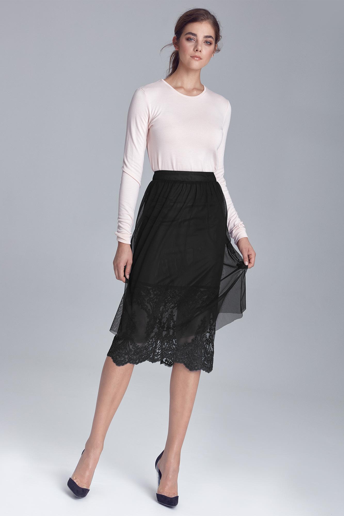 Nife - Czarna spódnica z koronką 3