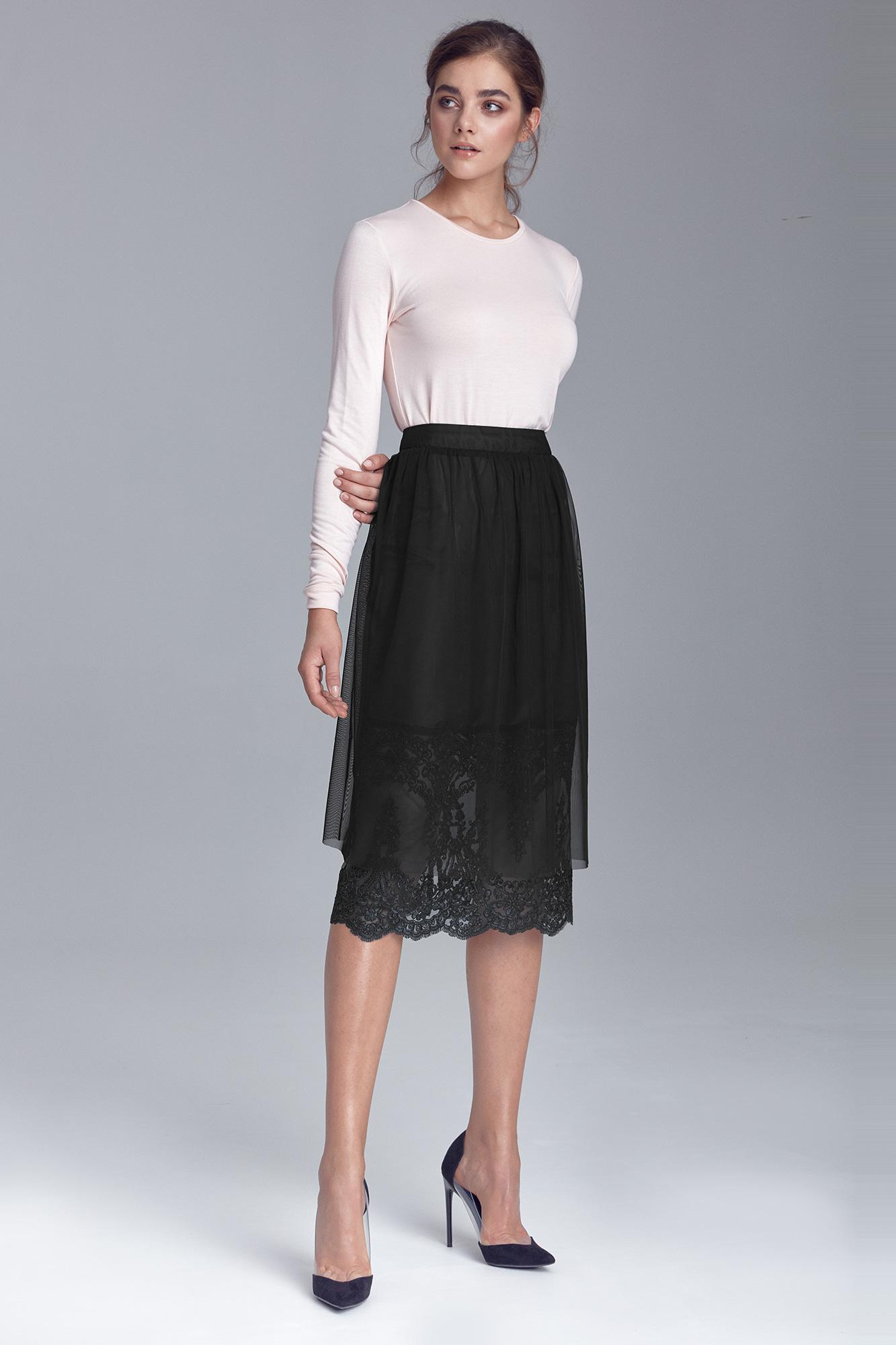 Nife - Czarna spódnica z koronką 5