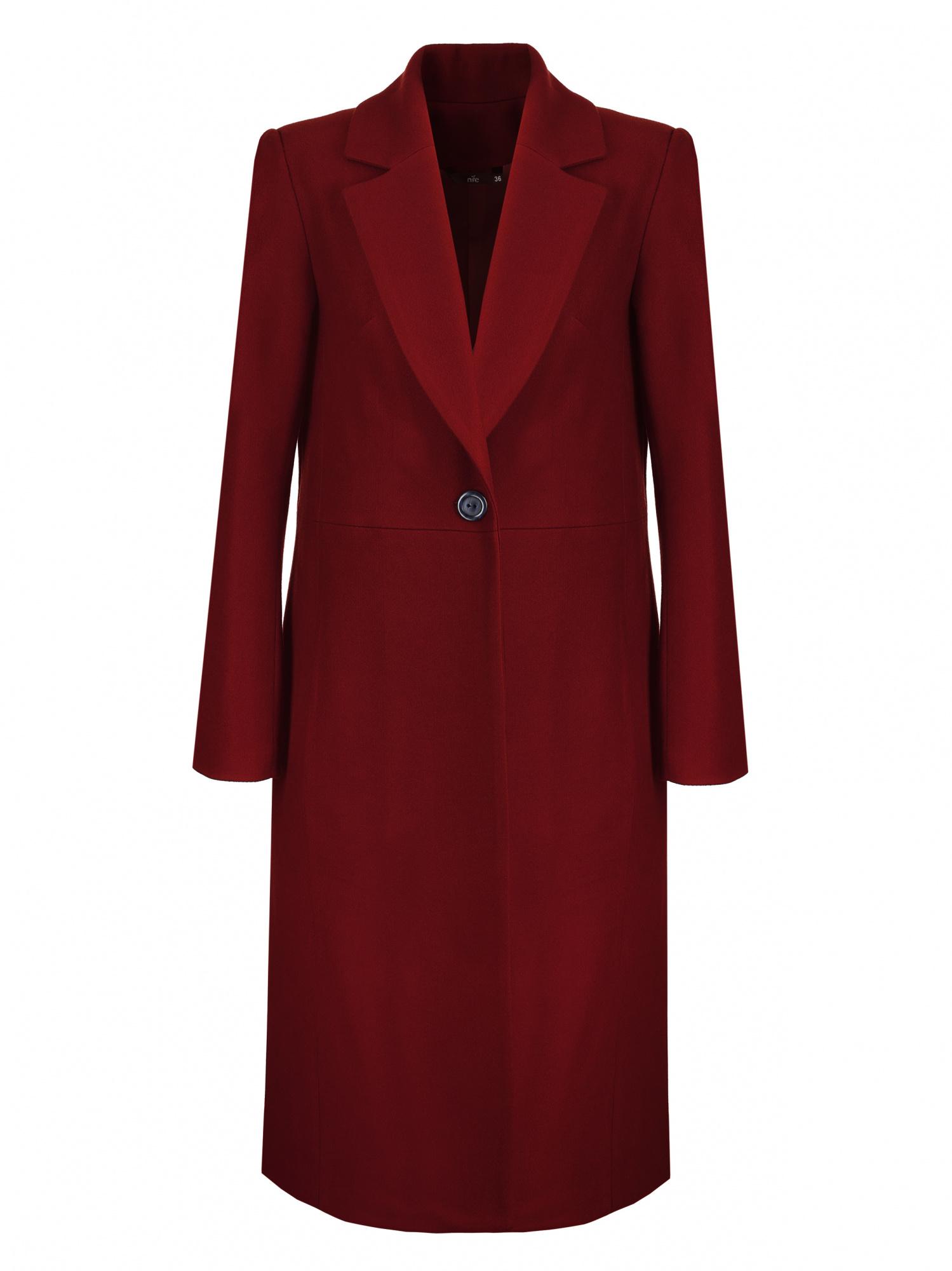 Nife - Bordowy płaszcz damski jednorzędowy 2