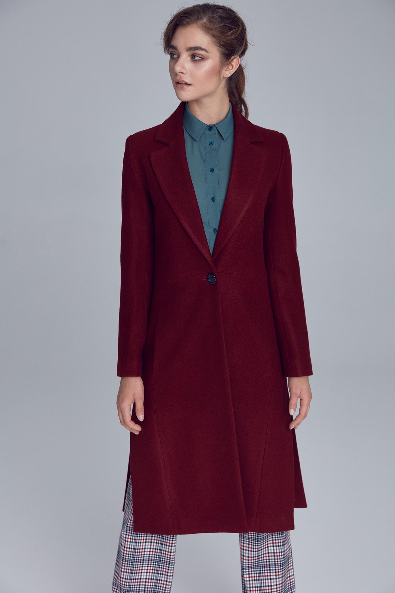 Nife - Bordowy płaszcz damski jednorzędowy 3