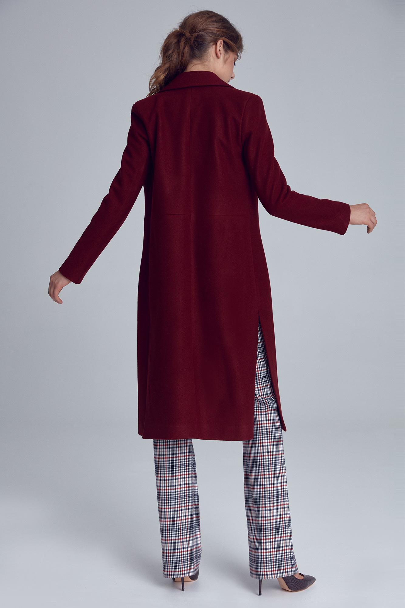 Nife - Bordowy płaszcz damski jednorzędowy 5