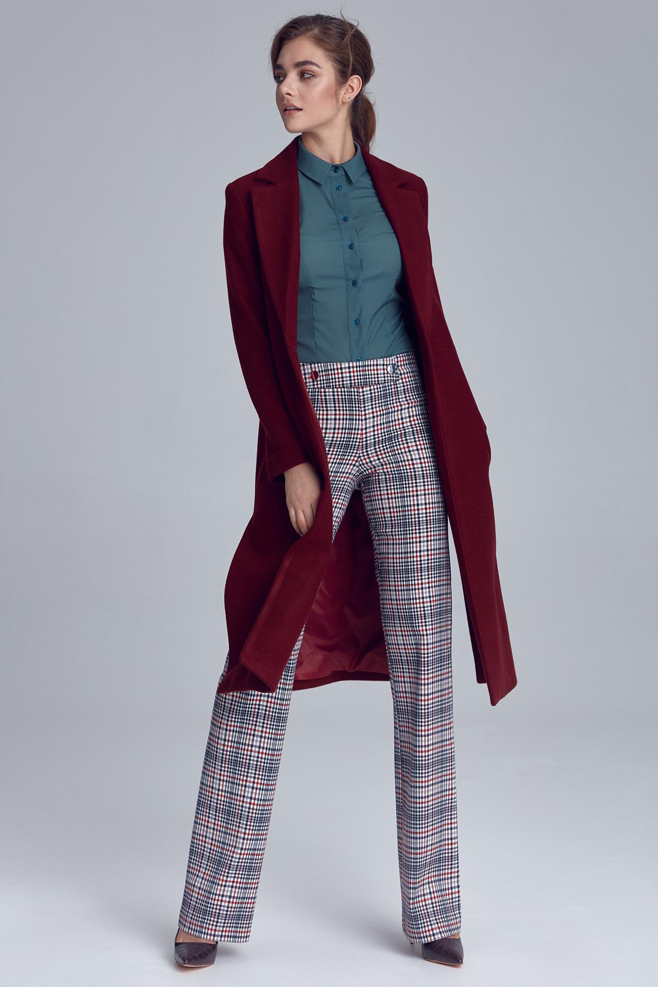 Nife - Bordowy płaszcz damski jednorzędowy 1
