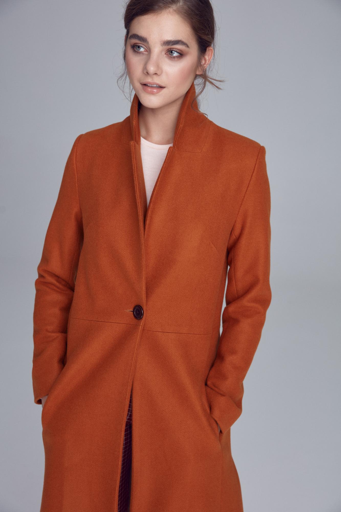 Nife - Miodowy płaszcz jednorzędowy  1