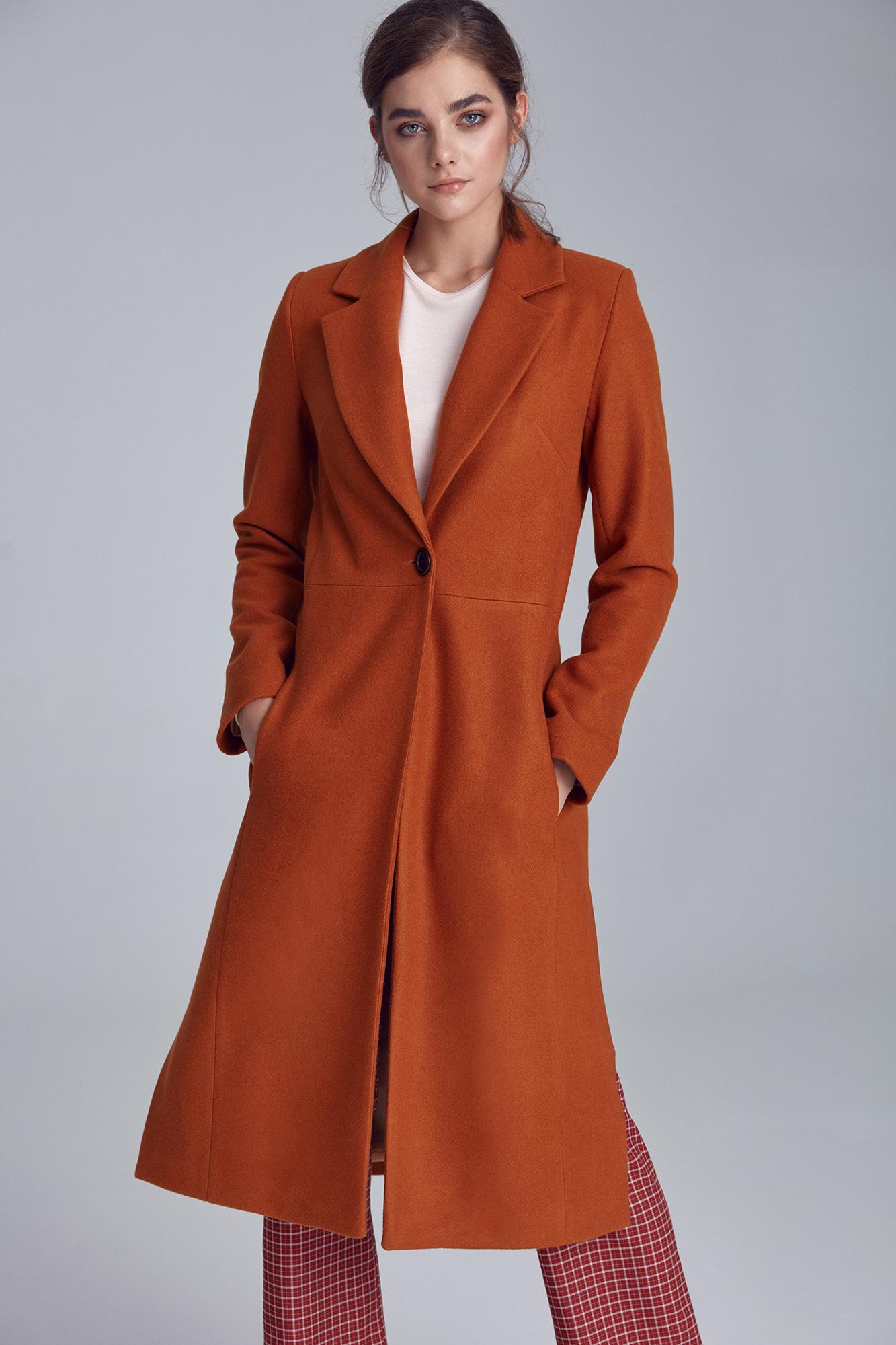 Nife - Miodowy płaszcz jednorzędowy  4
