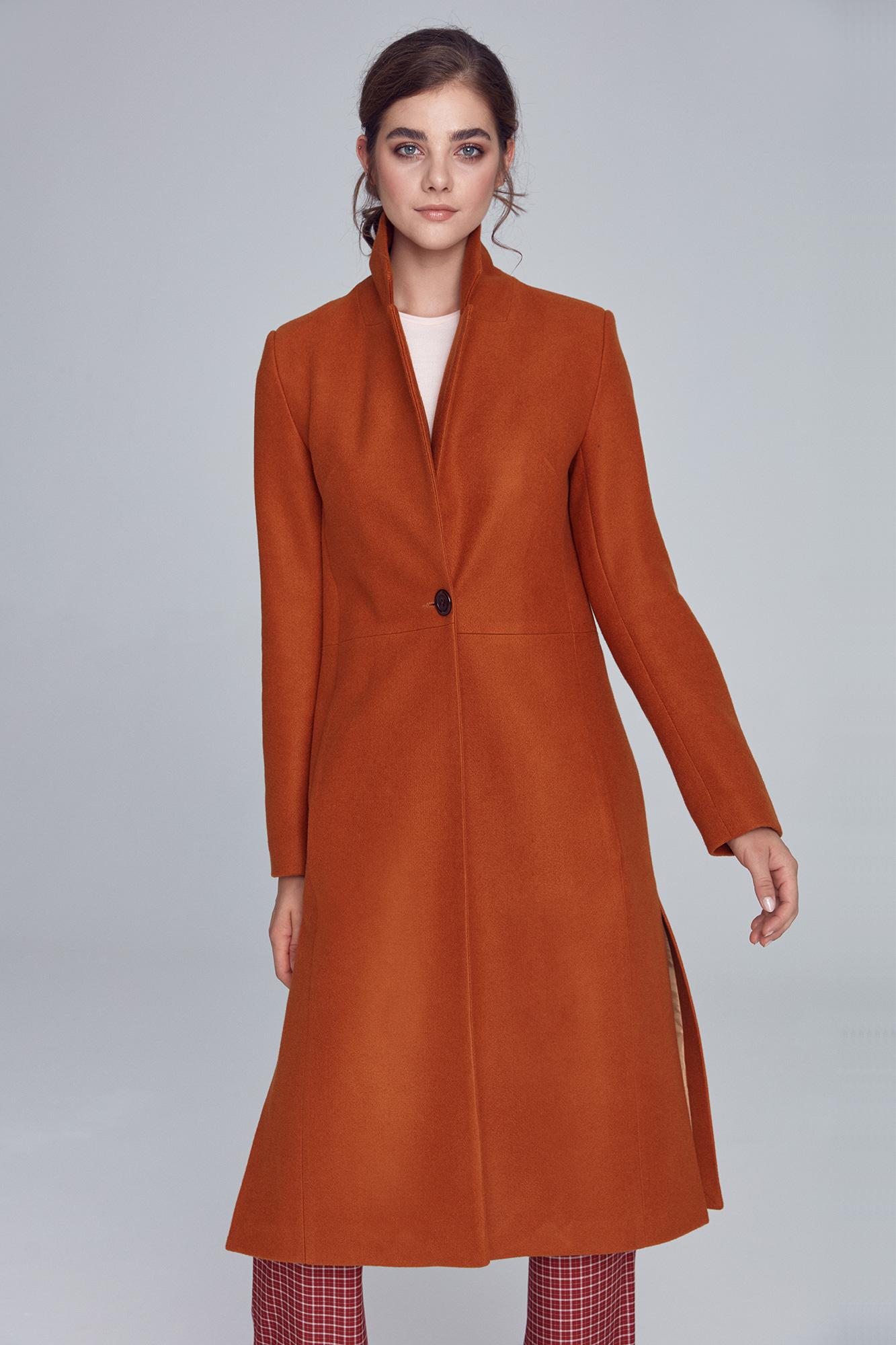 Nife - Miodowy płaszcz jednorzędowy  5