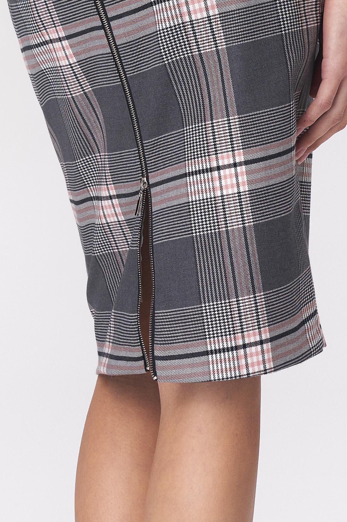 Nife - Ołówkowa szara spódnica w kratę 3