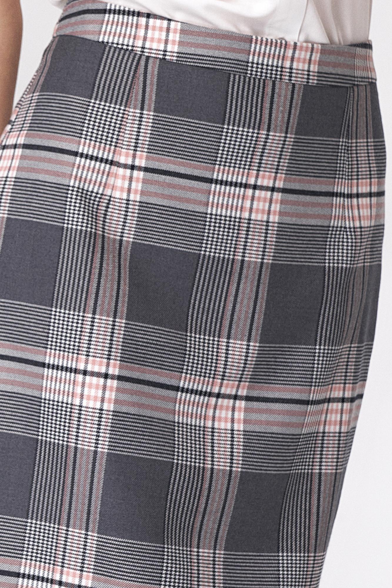 Nife - Ołówkowa szara spódnica w kratę 2