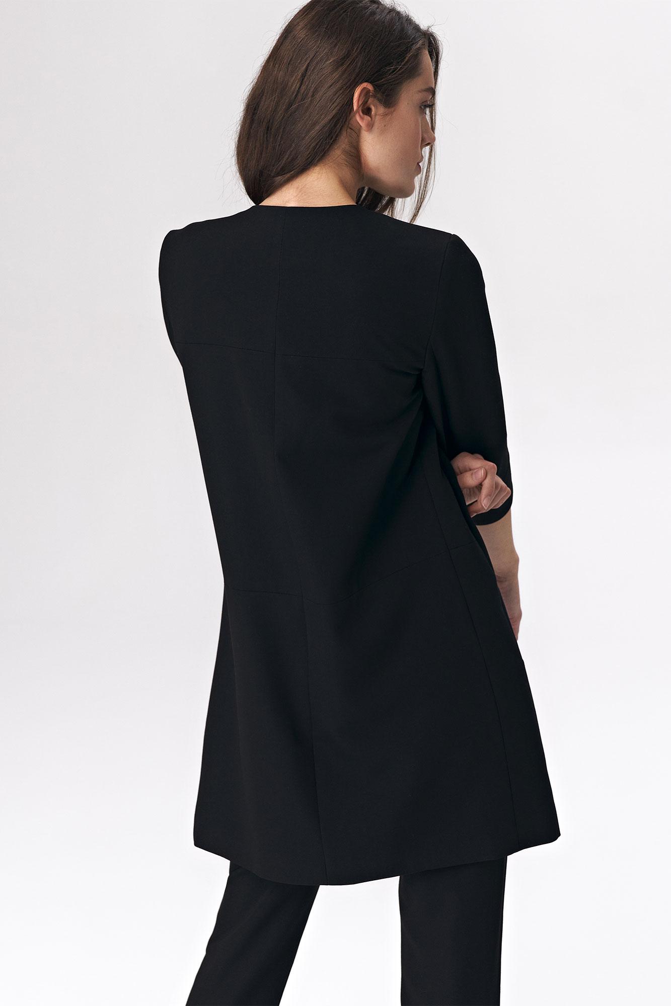 Nife - Czarny długi żakiet damski 2