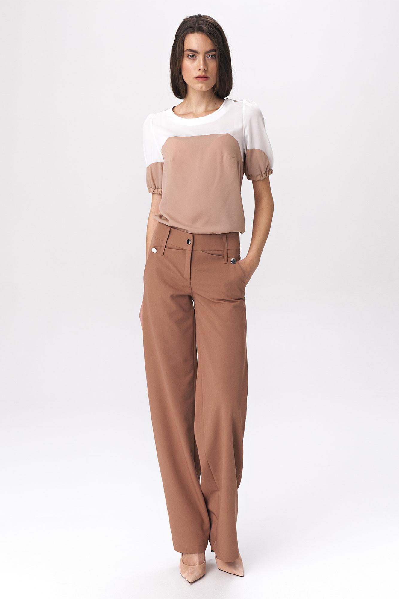 Nife - Karmelowe spodnie palazzo 3