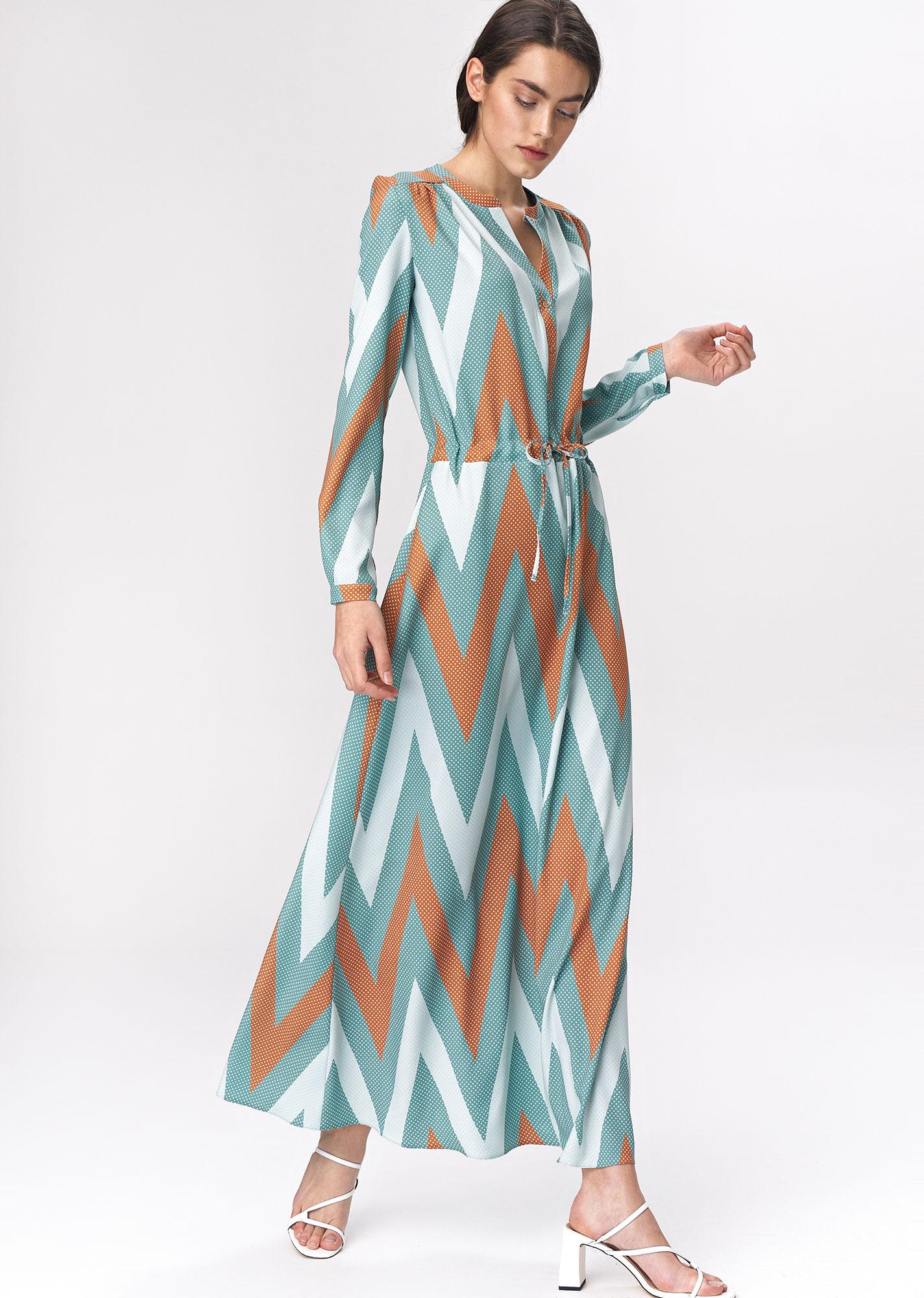 Nife - Turkusowa sukienka maxi  1