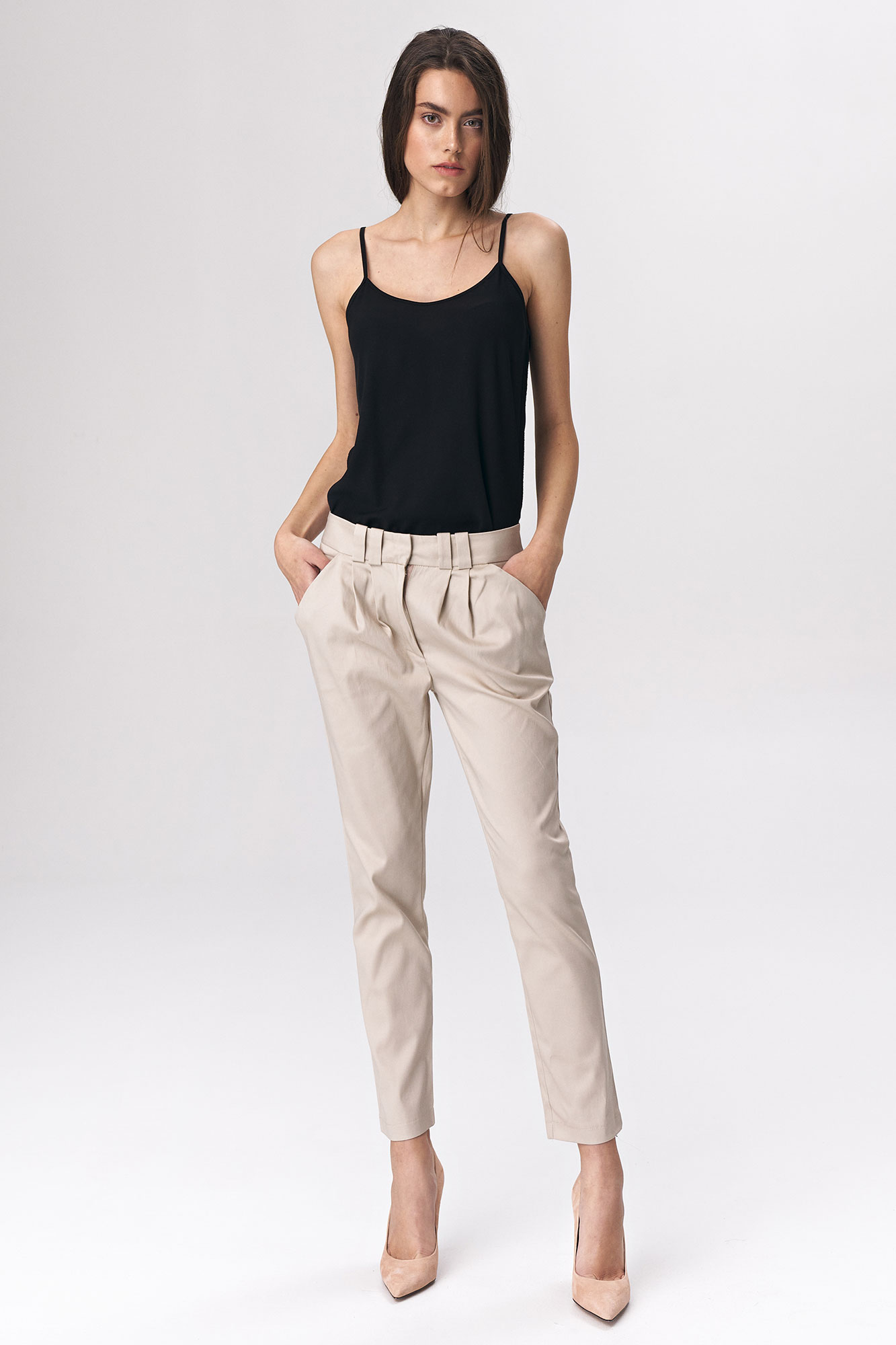Nife - Dopasowane beżowe spodnie damskie 1