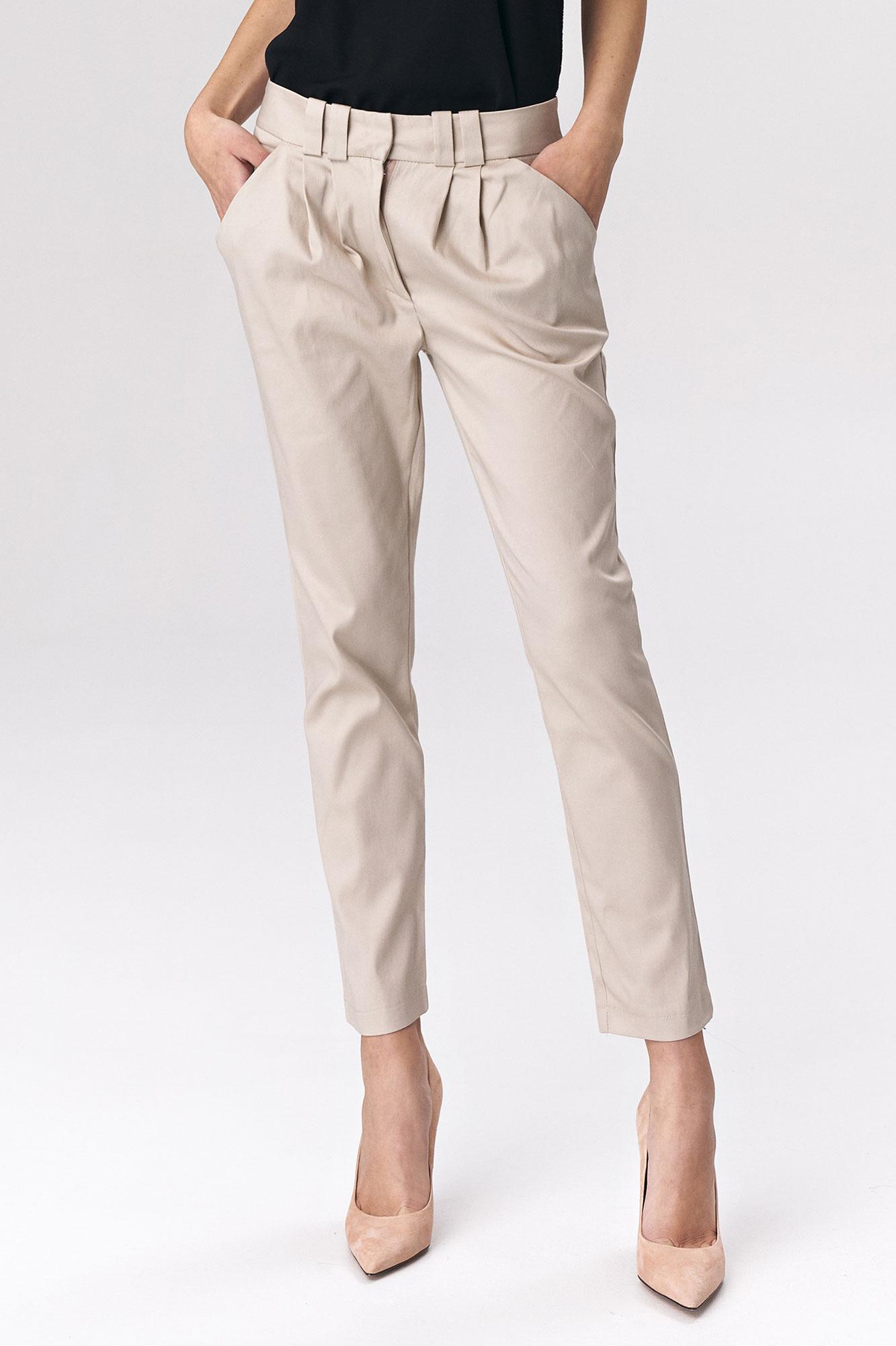 Nife - Dopasowane beżowe spodnie damskie 4