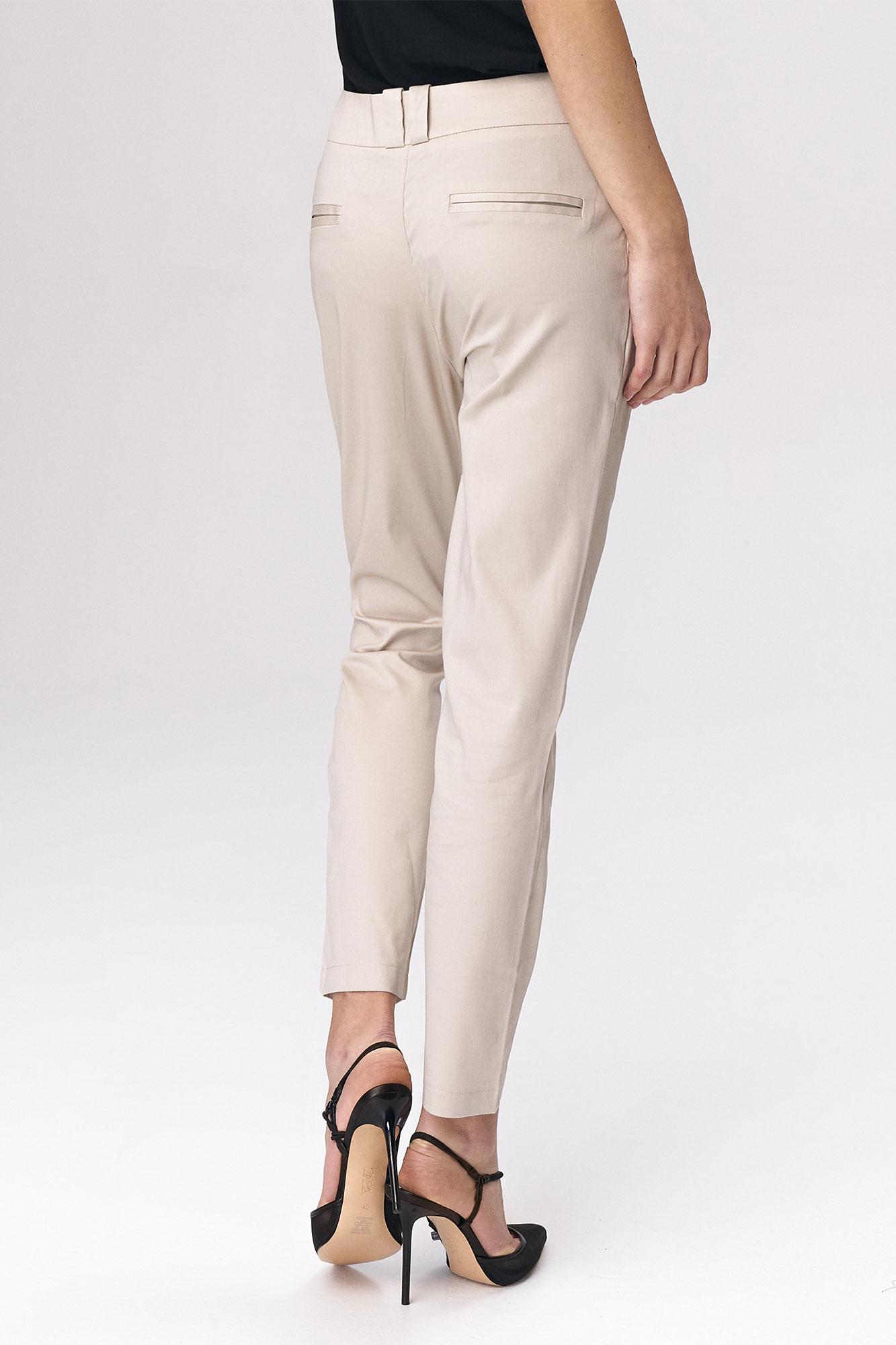 Nife - Dopasowane beżowe spodnie damskie 6