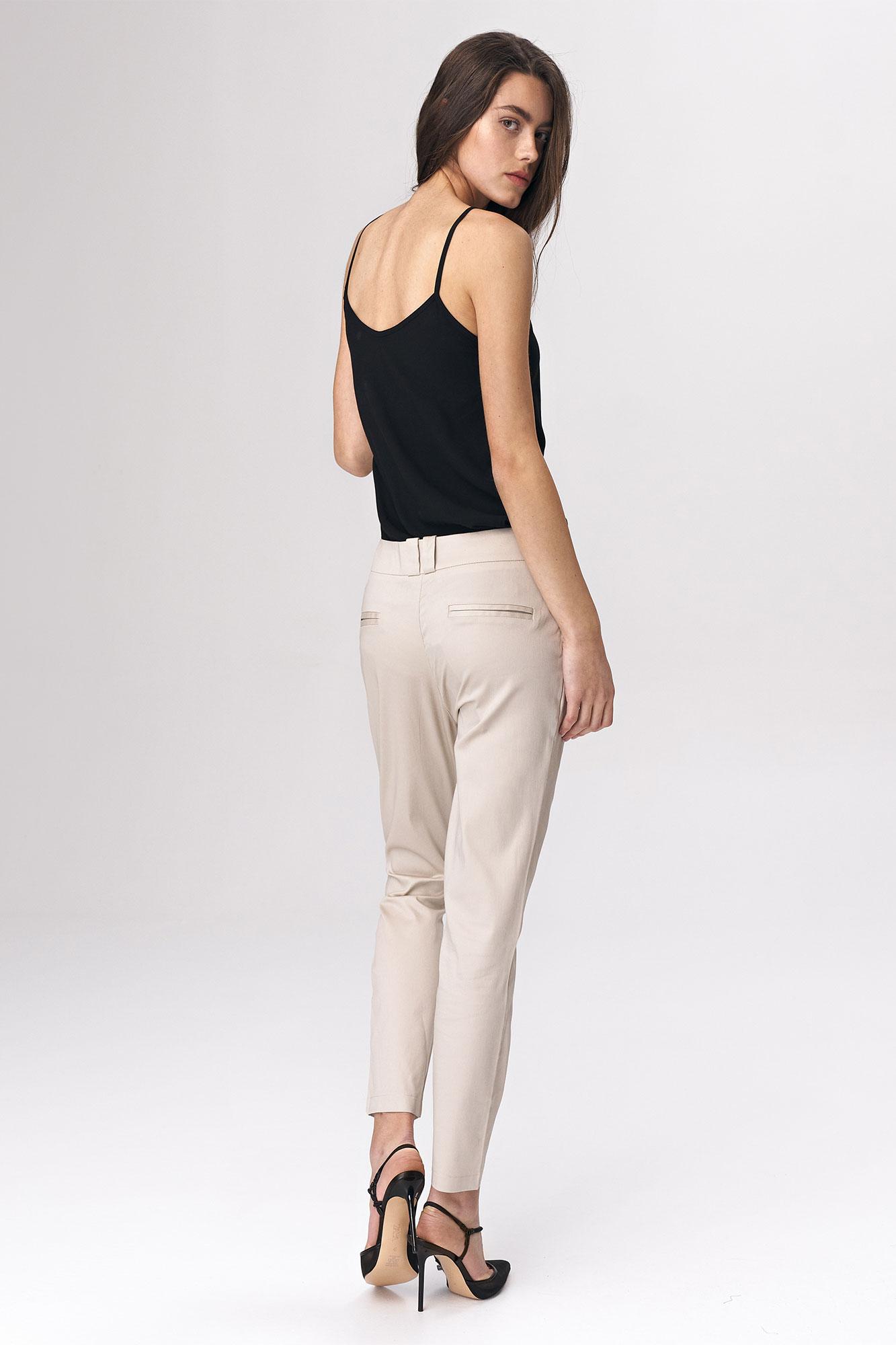 Nife - Dopasowane beżowe spodnie damskie 5