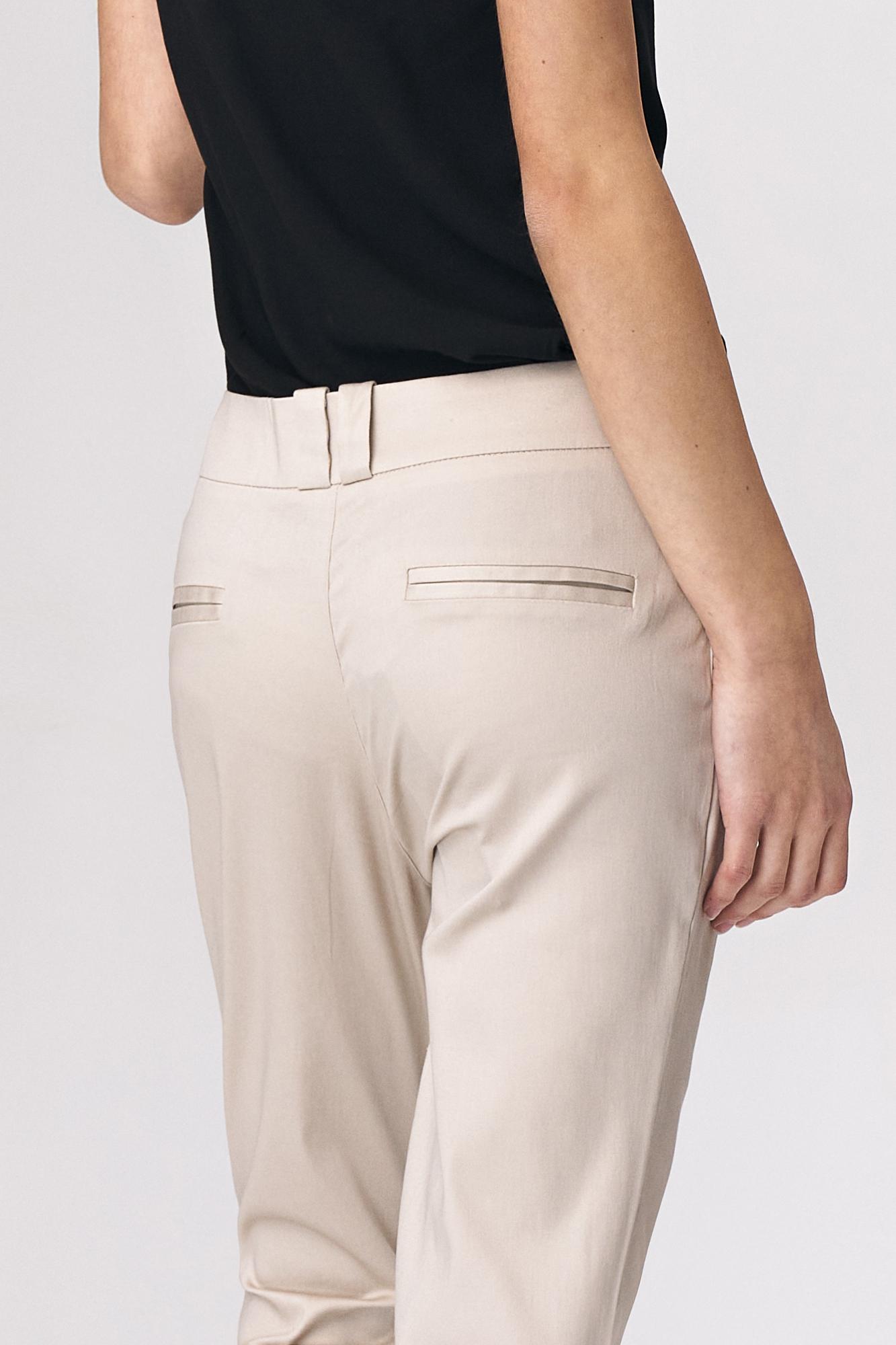 Nife - Dopasowane beżowe spodnie damskie 3