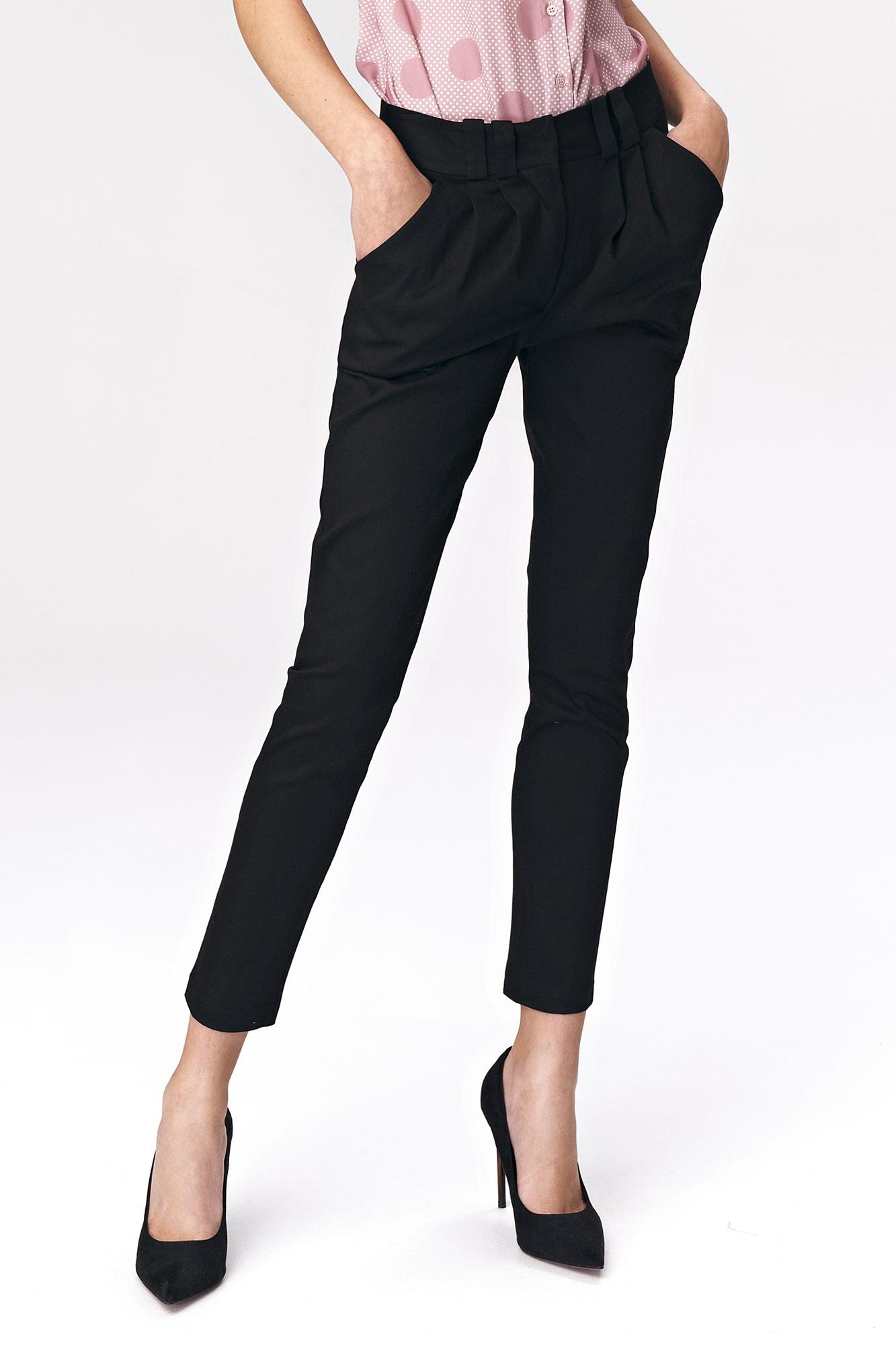 Nife - Dopasowane czarne spodnie damskie 1