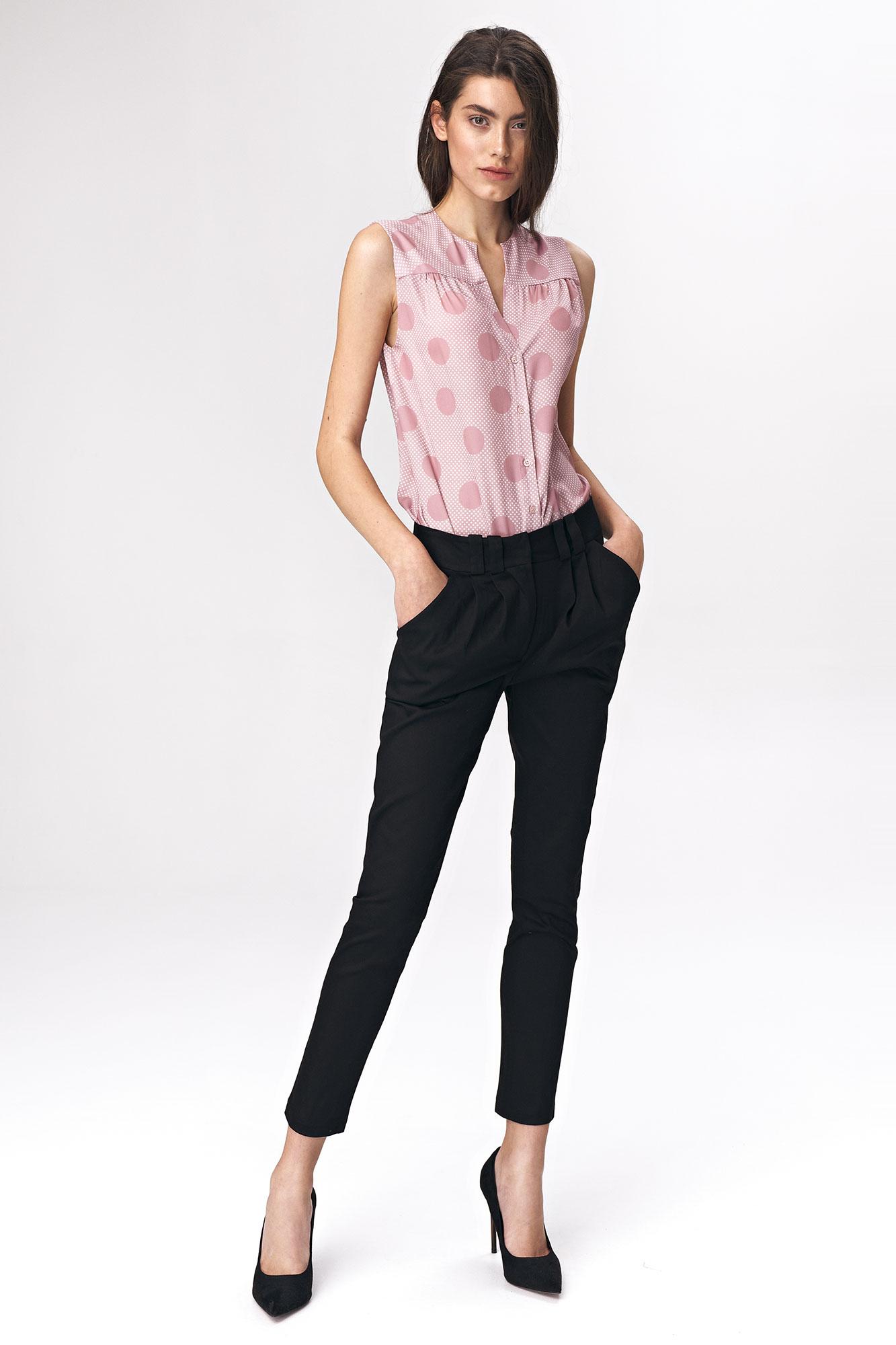 Nife - Dopasowane czarne spodnie damskie 2