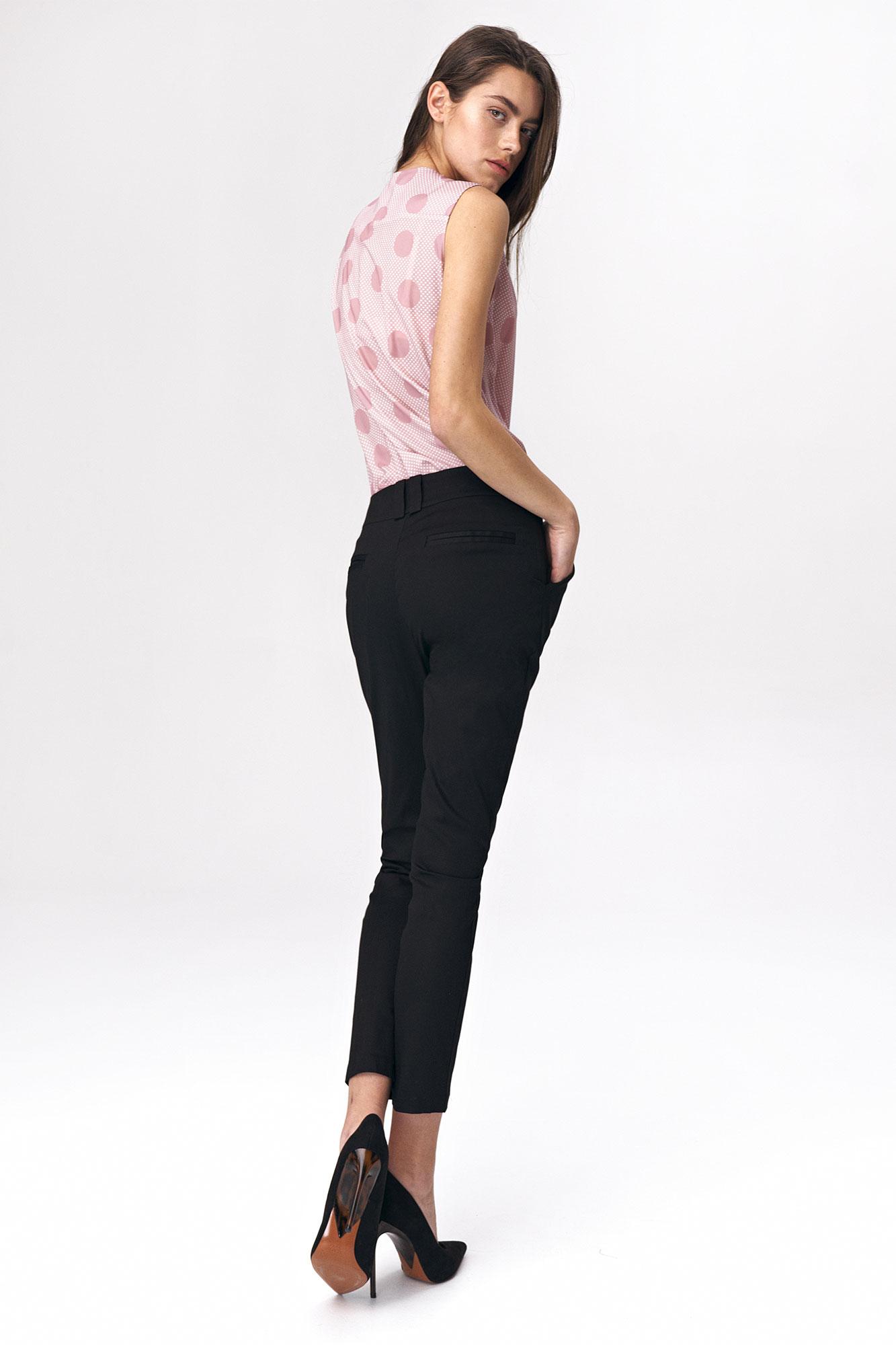 Nife - Dopasowane czarne spodnie damskie 3