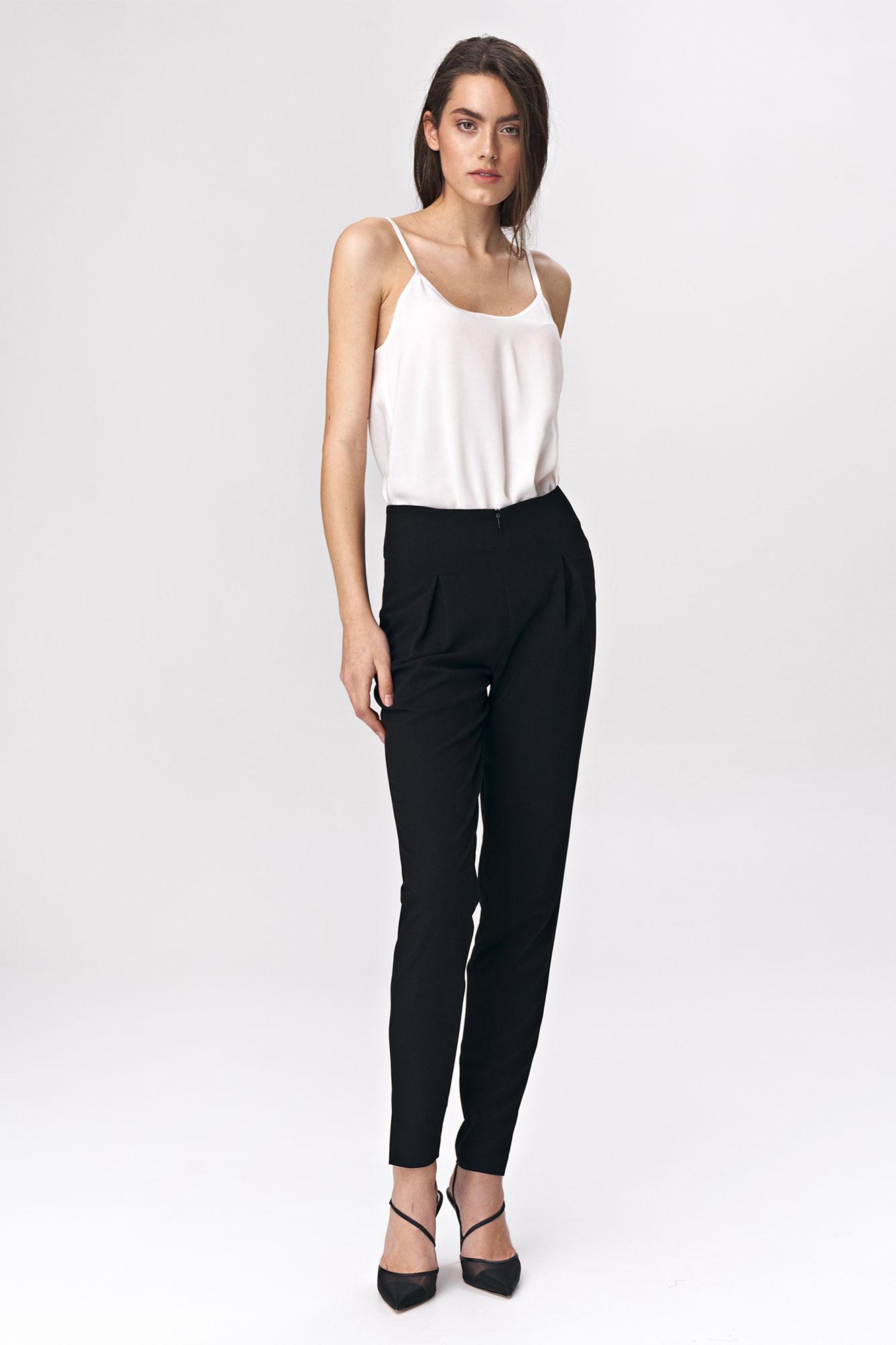 Nife - Czarne spodnie z zaszewkami 5