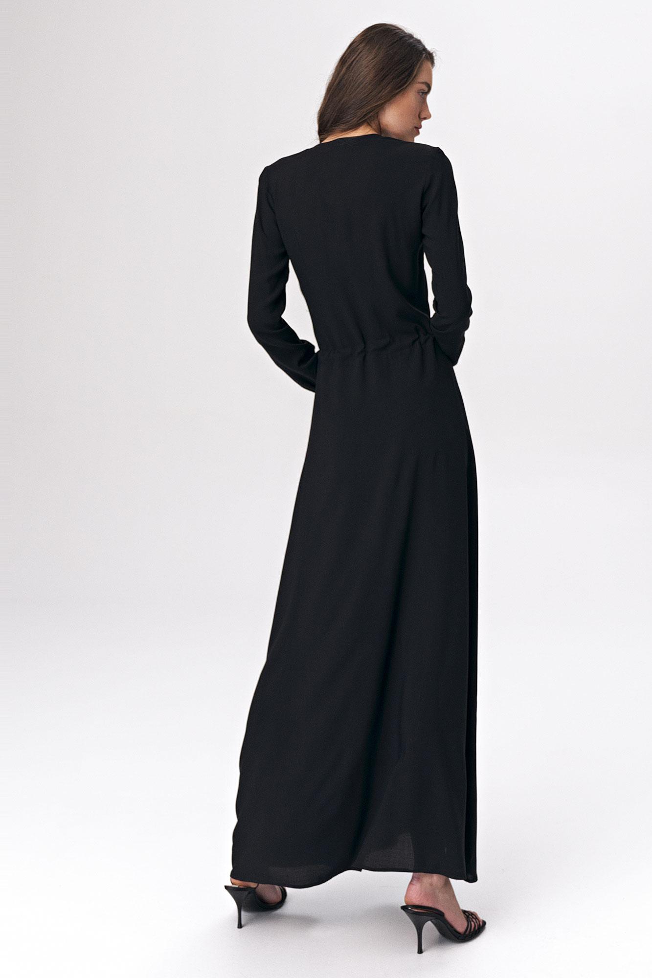 Nife - Czarna sukienka maxi 4