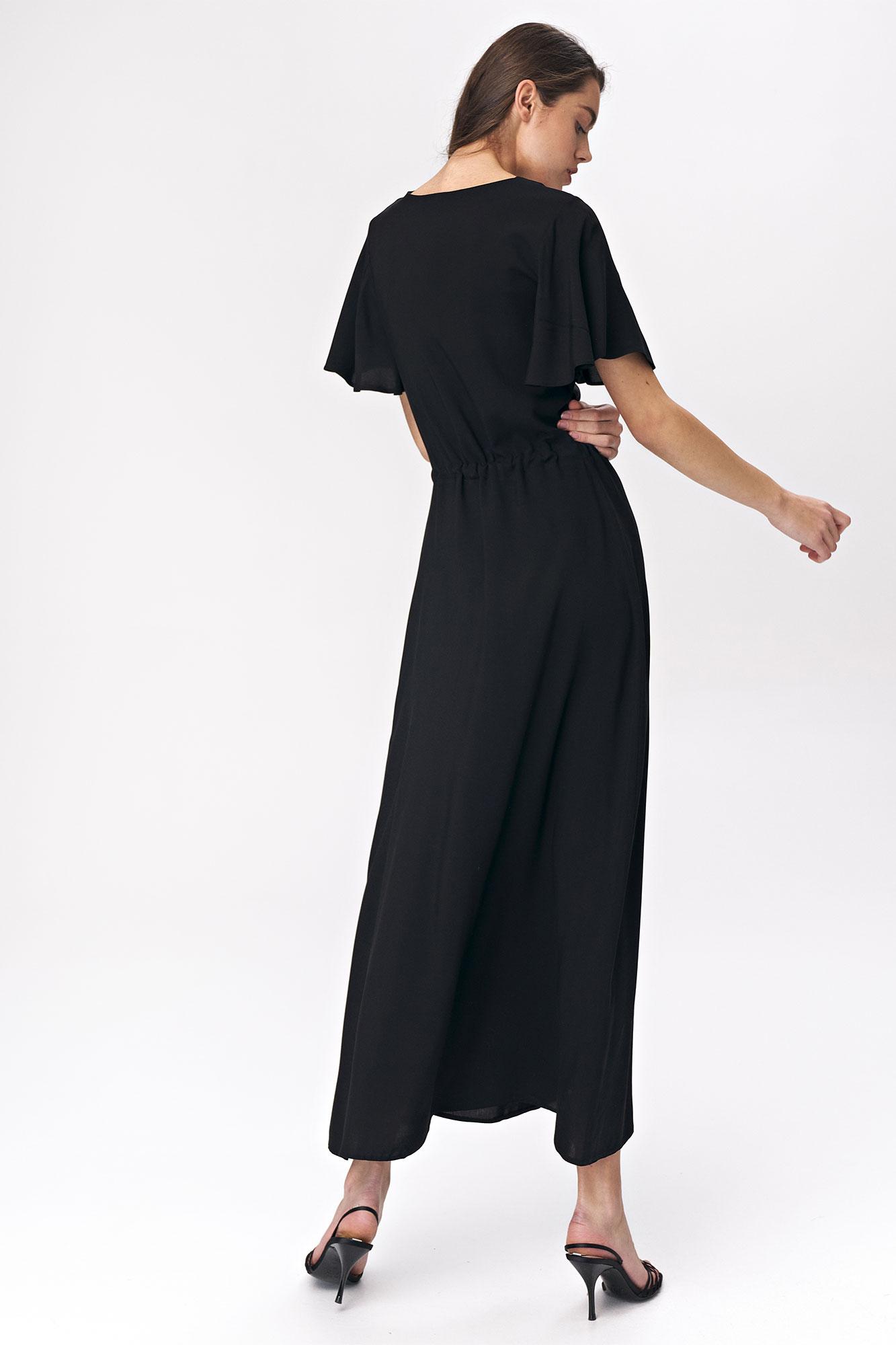 Nife - Czarna sukienka maxi z rozkloszowanym rękawem 3