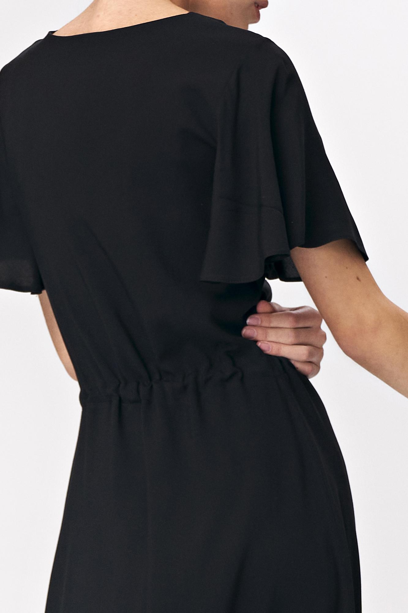 Nife - Czarna sukienka maxi z rozkloszowanym rękawem 4